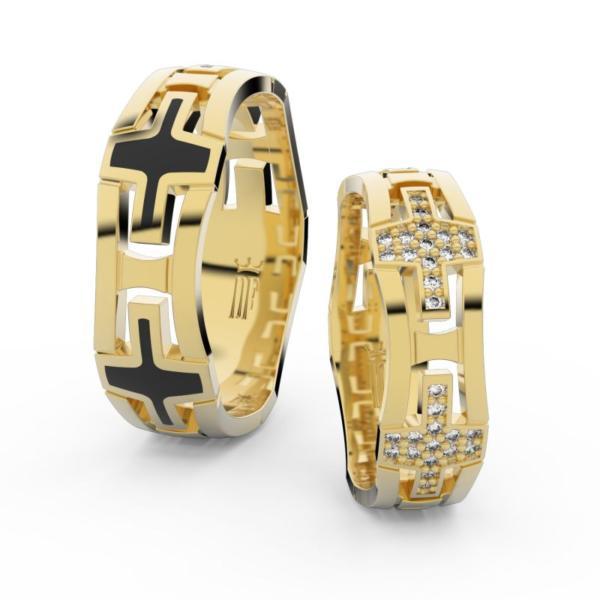 Snubní prsteny ze žlutého zlata s brilianty