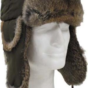 Čepice Ušanka textilní s králičí kožešinou zelená XL [61]