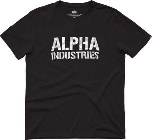 Alpha Industries Tričko Camo Print T černá | bílá XL