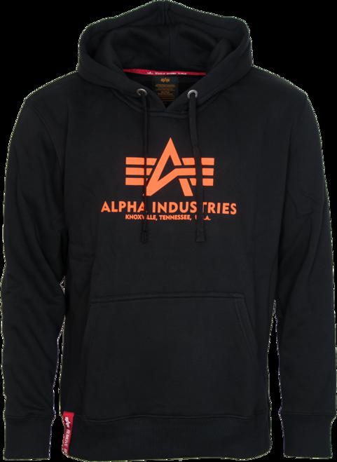 Alpha Industries Mikina Basic Hoody neon orange | black XL