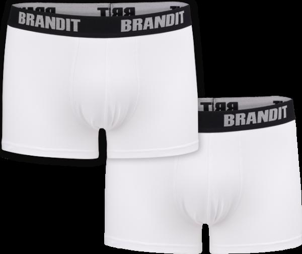 Brandit Boxerky Boxershorts Logo [sada 2 ks] bílé + bílé 3XL