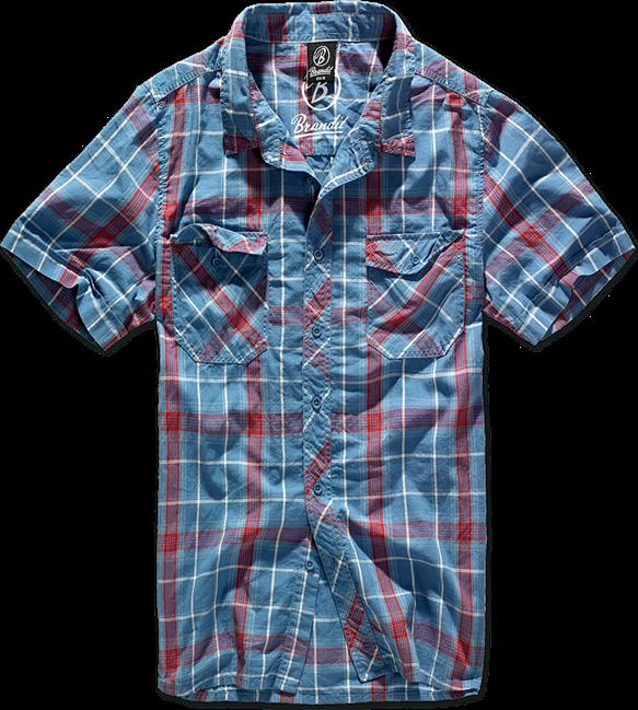 Brandit Košile Roadstar Shirt 1/2 červená   modrá S