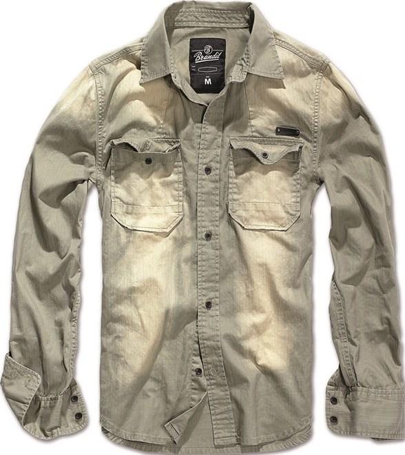 Brandit Košile Hardee olivová | šedá 4XL
