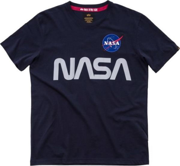 Alpha Industries Tričko NASA Reflective T rep. modrá XL