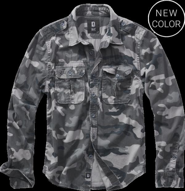 Brandit Košile Vintage Shirt Longsleeve 1/1 grey camo 4XL