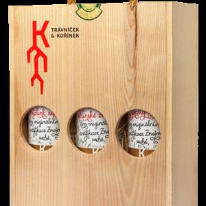 THAYA dárkový box DŘEVĚNÁ KAZETA - bílá vína Trávníček & Kořínek PREMIUM Pozdní sběr 2018 3×0